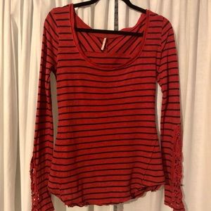 FREE PEOPLE striped long sleeve blouse